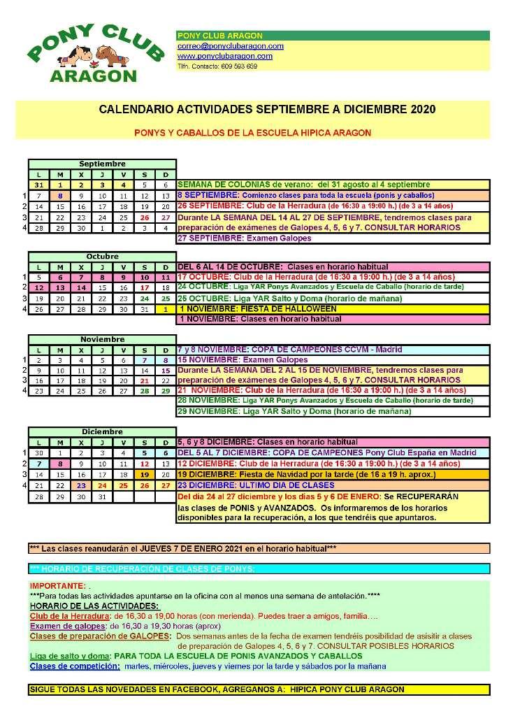 Calendario Septiembre a Diciembre 2020